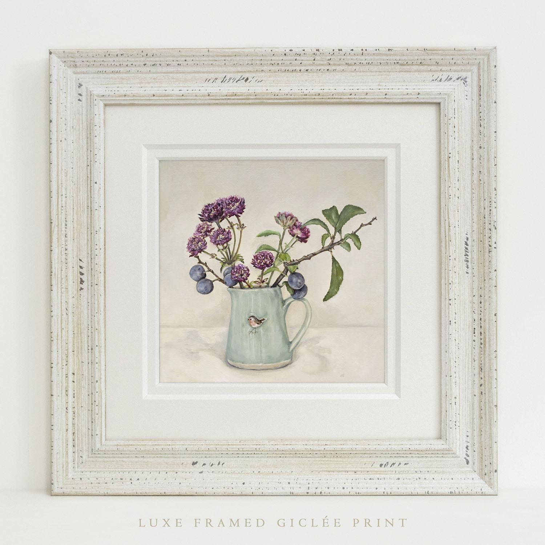 Luxe Framed Giclée Print of Hogben Pottery Robin Jug