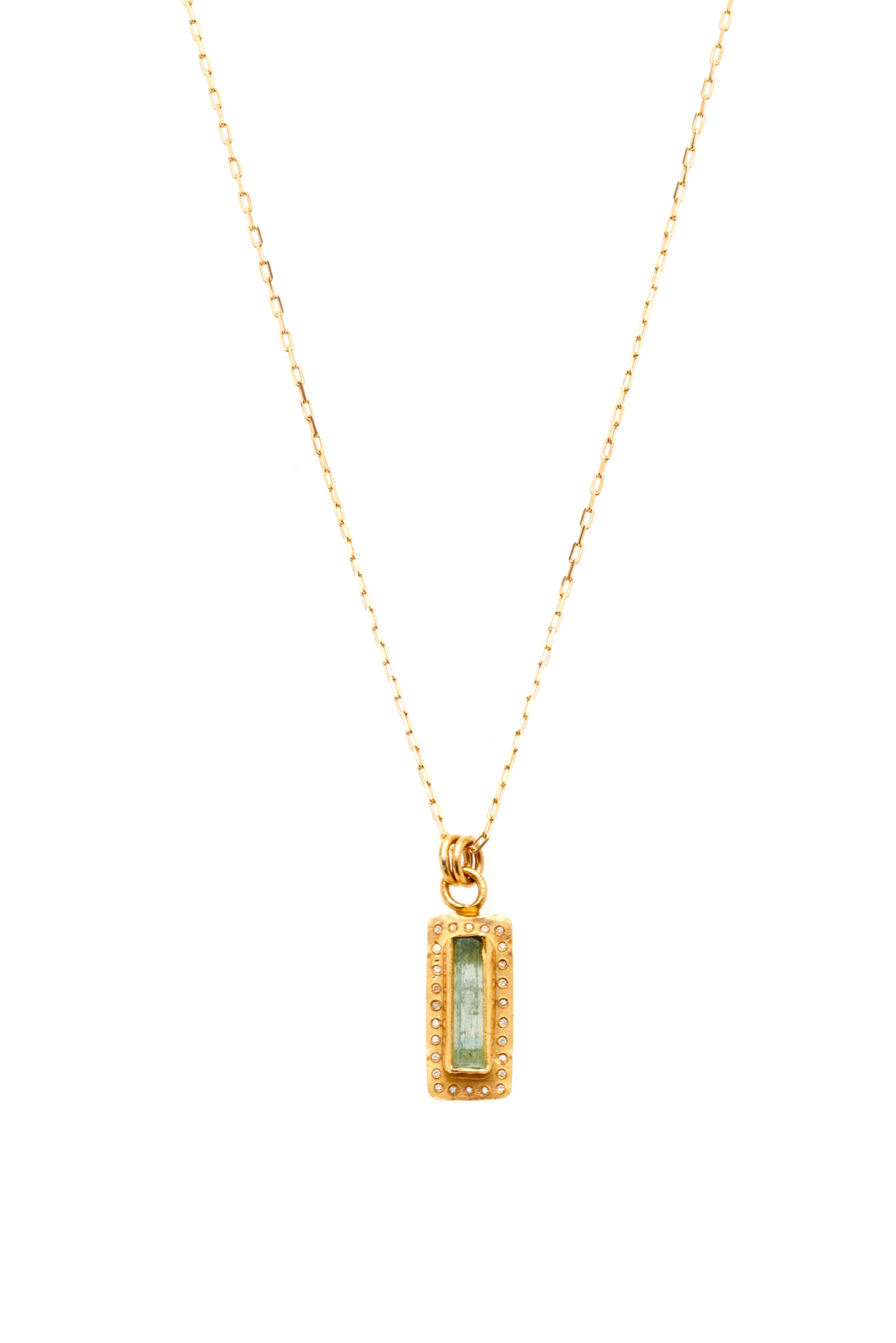 22K gold with a Colombian crystal and diamonds  -
