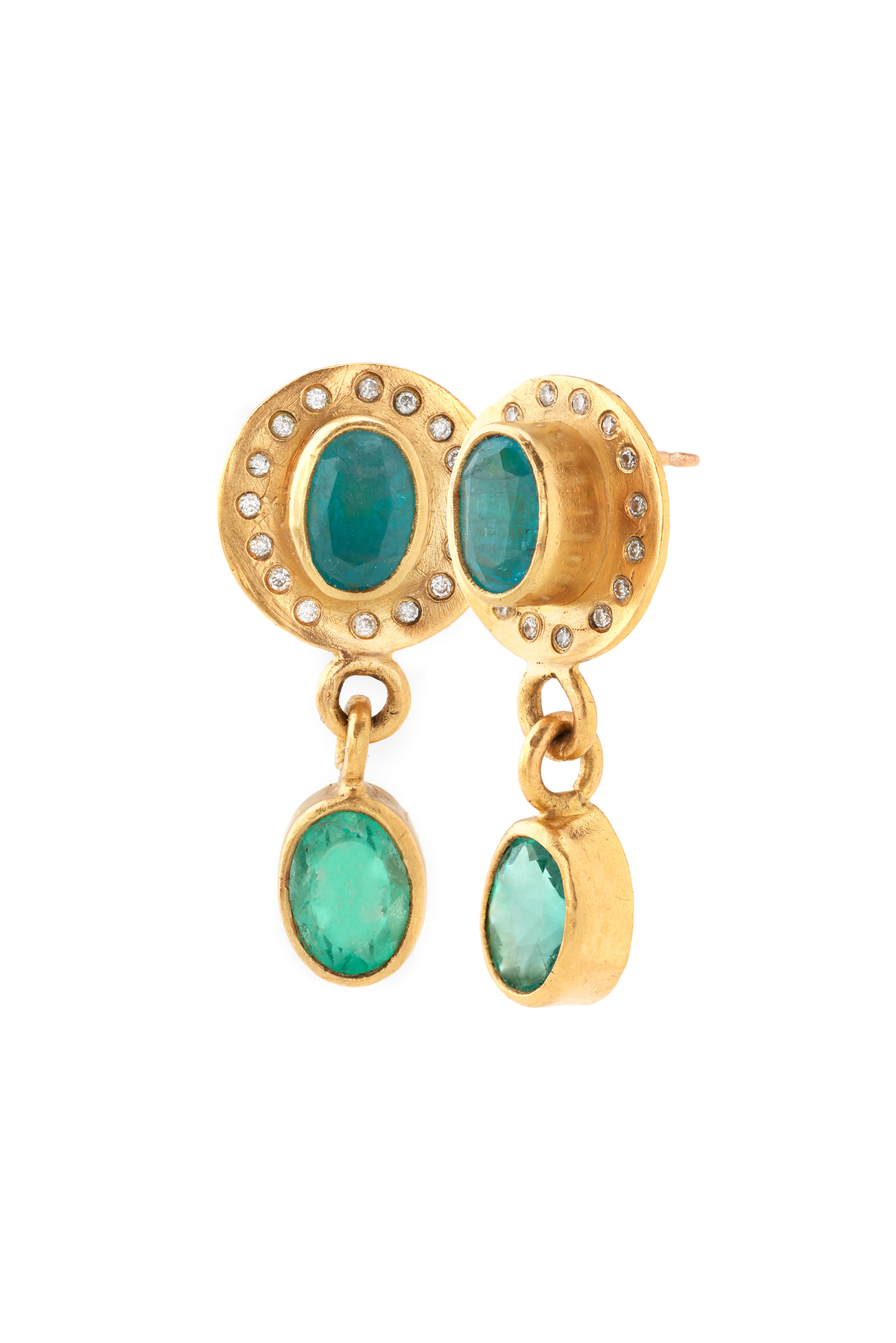 22K gold drop earrings with diamonds, Colombian emeralds and Paraiba tourmalines  -