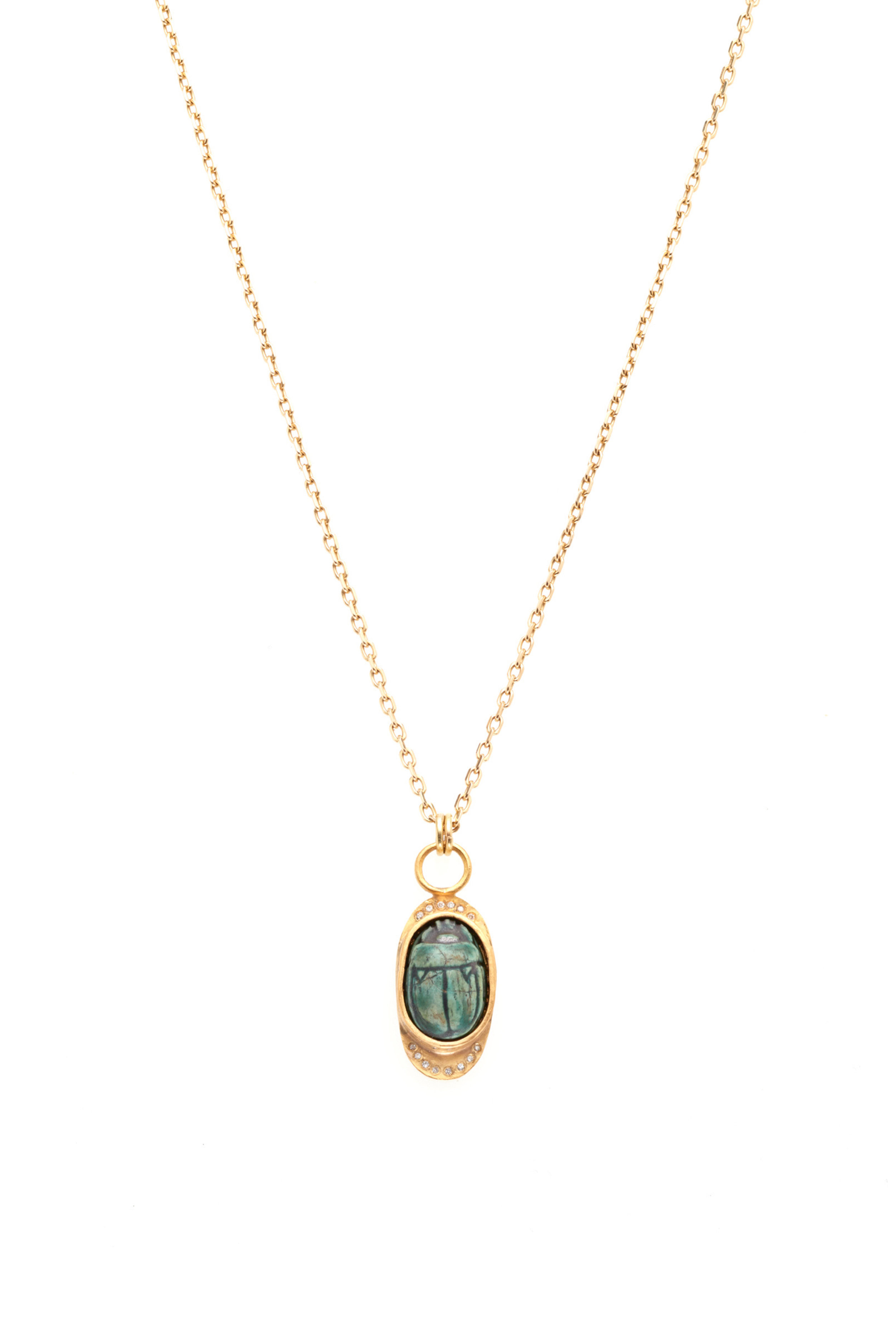 22K gold with an ancient scarab beetle and diamonds -