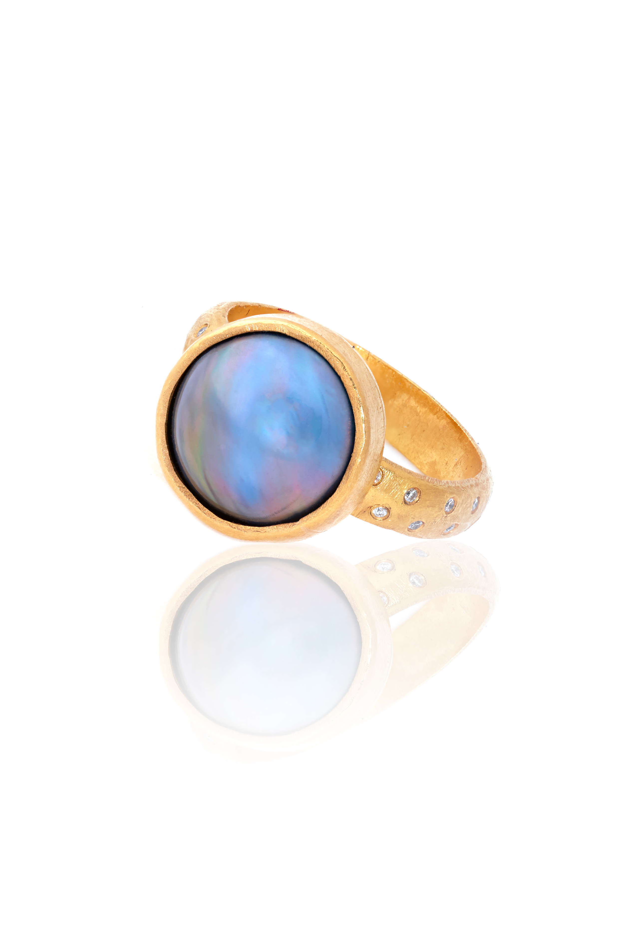 22K gold ring with repurposed heirloom diamonds and blue Mabe pearl -