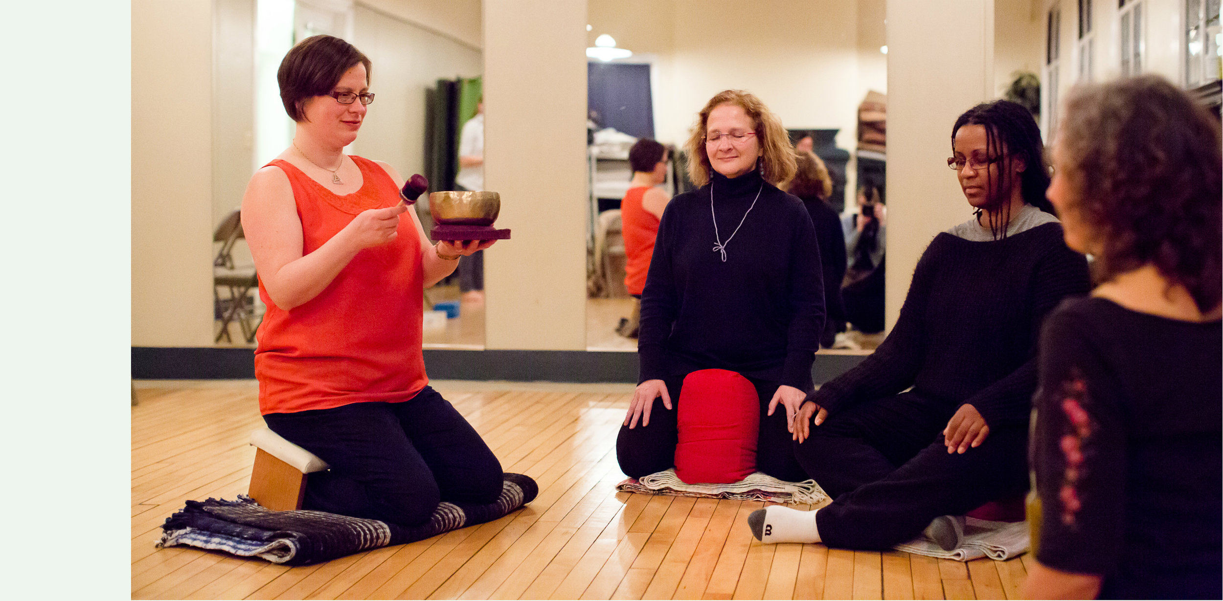 At Our Studio Locations - Most beginners start with The Meditation Toolbox Course. But we also offer free Community Meditation Nights for those who want a complimentary taste of meditation before committing to attend the six-week course.You can start with either one of these two introductory programs that are upcoming on our calendar.