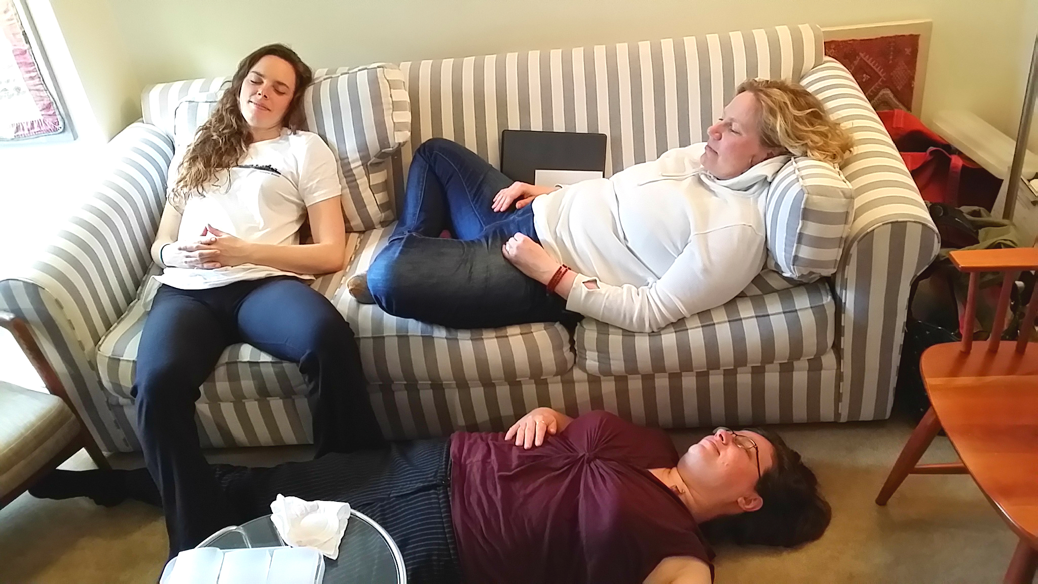 This image shows our staff demonstrating relaxation techniques. Please join us!