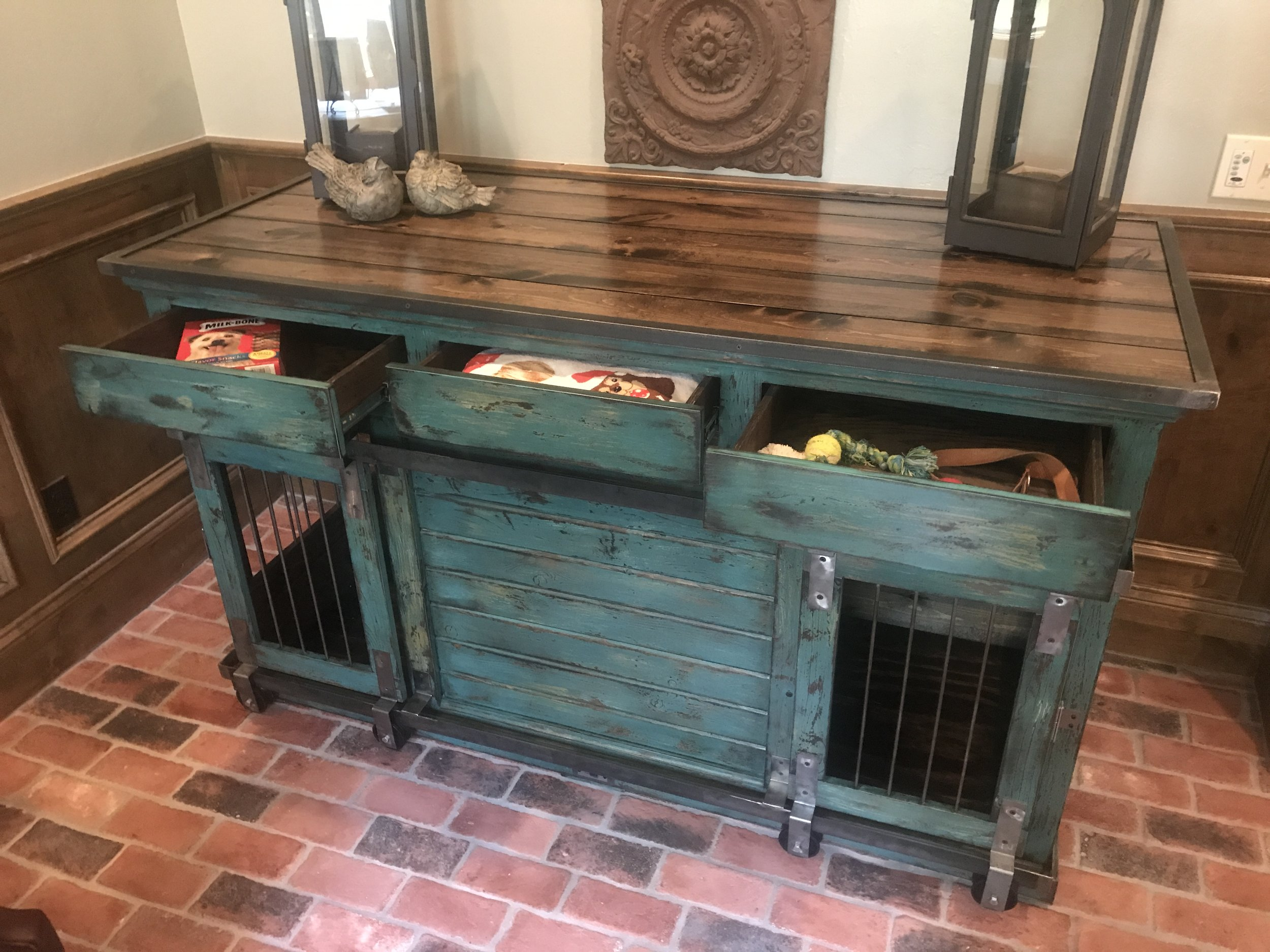 Double Large, Peacock, Drawers, Barn Doors