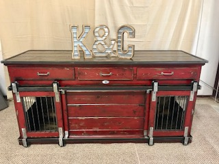 Double XL, Poinsettia, Distressed Finish, Drawers, Chew Guard, Barn Doors