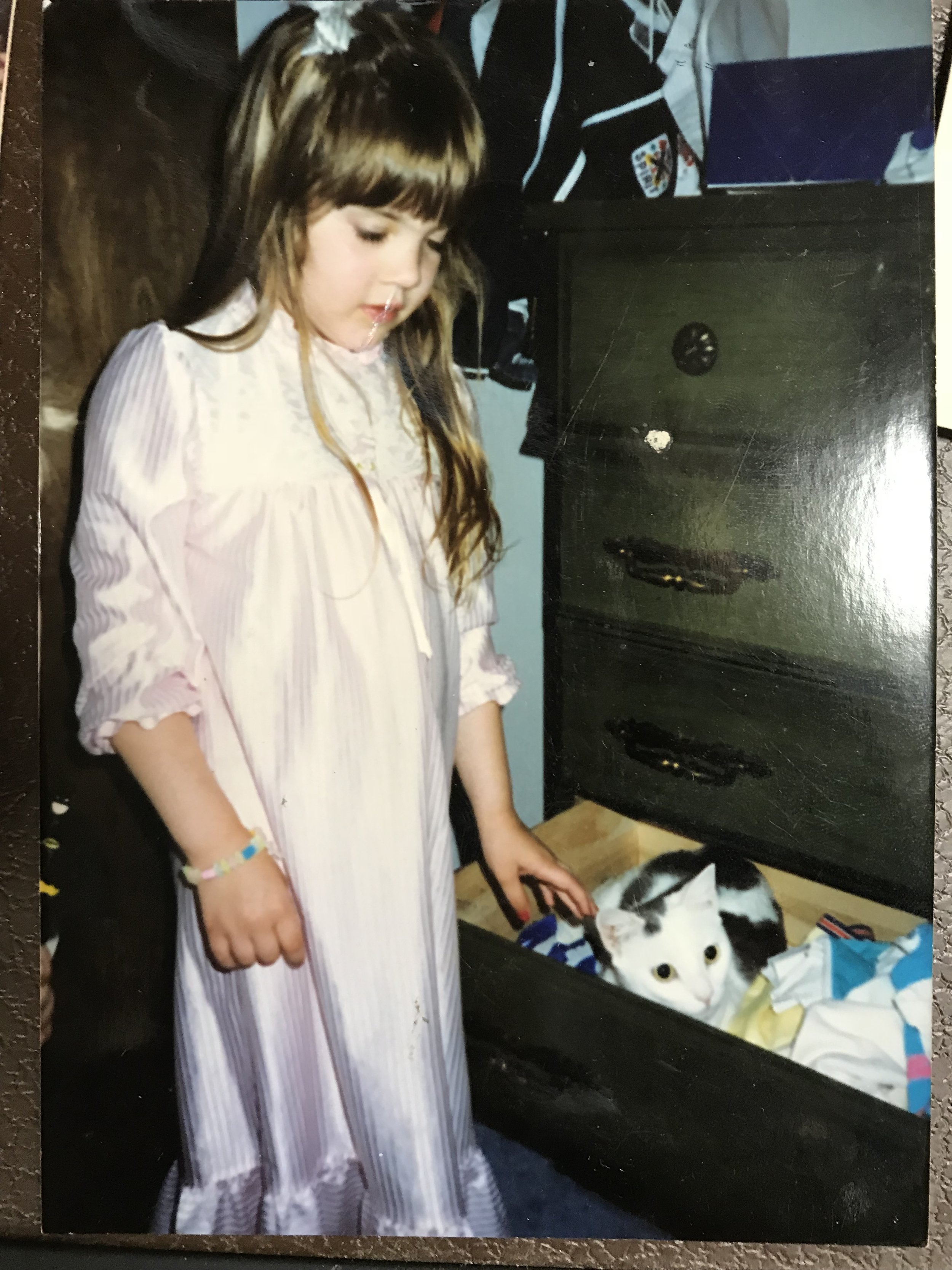 5 year old Erika with first cat, Adrian