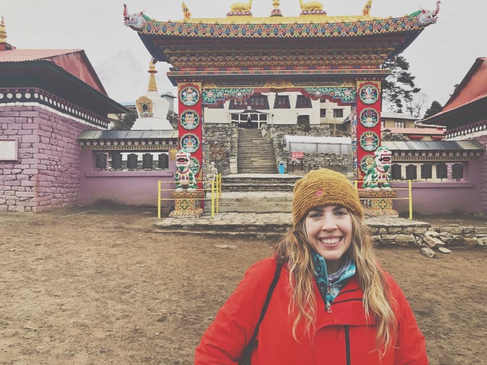 In front of the Buddhist Monastery in Tengboche