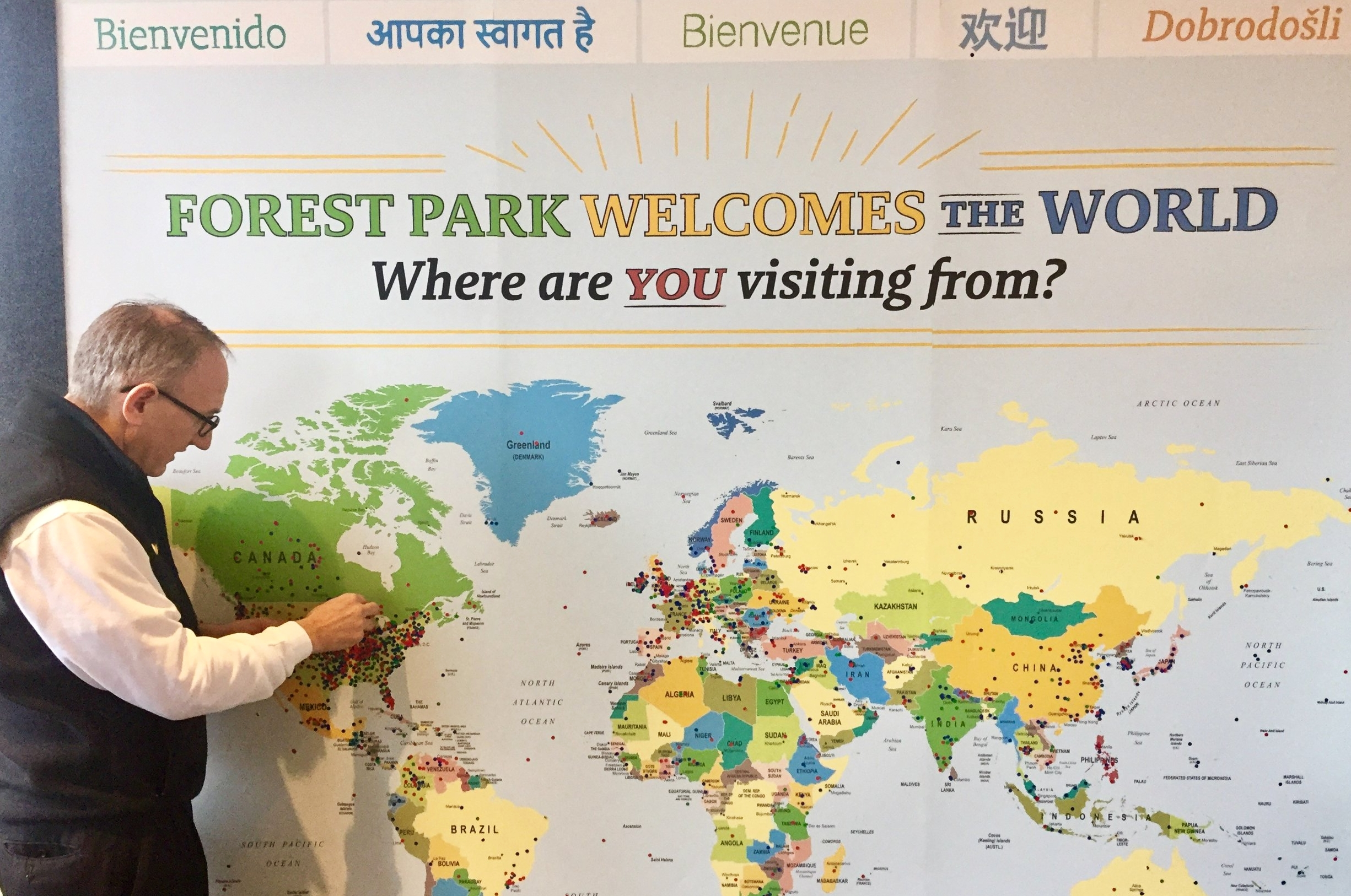 Forest Park Welcomes the World - When guests passed through the Visitor Center, we invited them to place a sticker to let us know where they were visiting from.