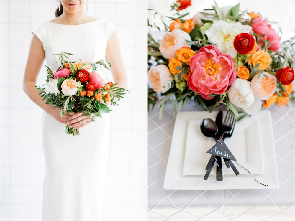 All white with flowers in accent colours give a very young and fresh look - Tifani Lyn Photography
