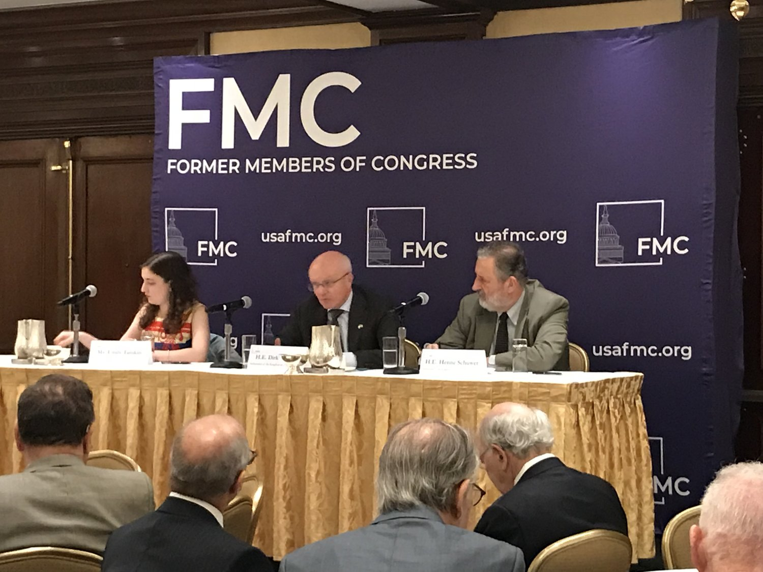 L to R: Emily Tamkin (political journalist from Foreign Policy), H.E. Dirk Wouters (Ambassador of Belgium to the U.S.)H.E. Henne Schuwer (Ambassador of The Netherlands to the U.S.)