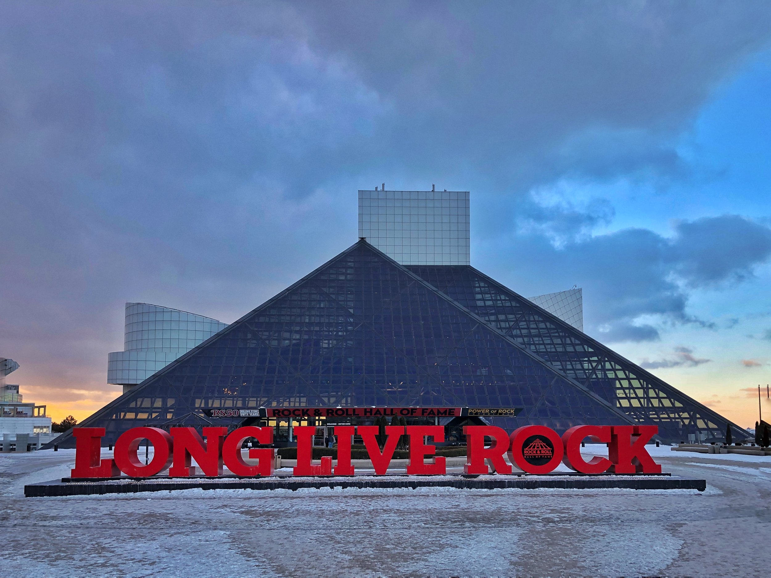 The Rock and Roll Hall of Fame, designed by I. M. Pei.