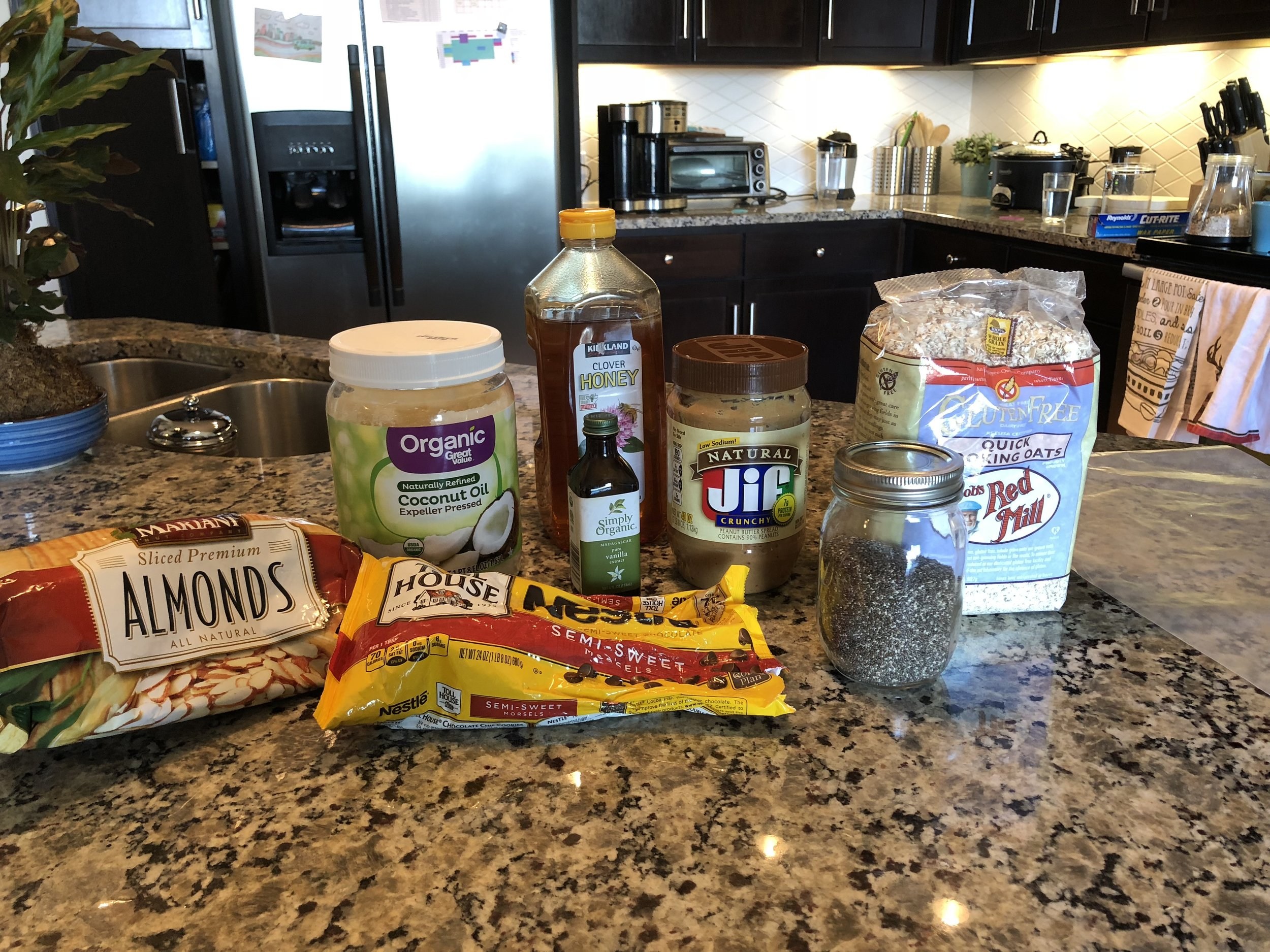 All the ingredients that will go into today's granola bar recipe.