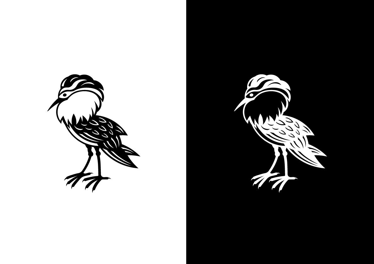 Monochrome Ruff bird