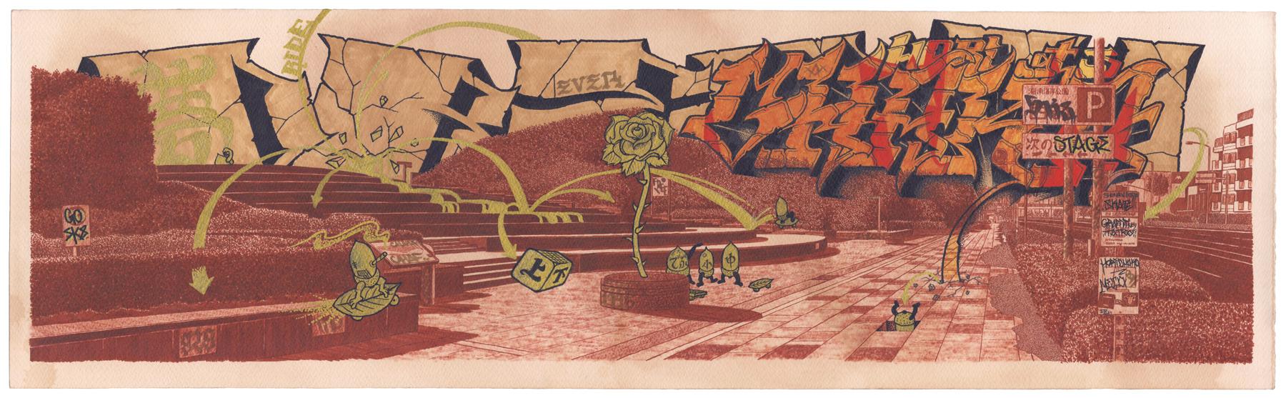 collaboration work   Chaka × Koji Yamaguchi  ink and acrylic and coffee on paper  2011