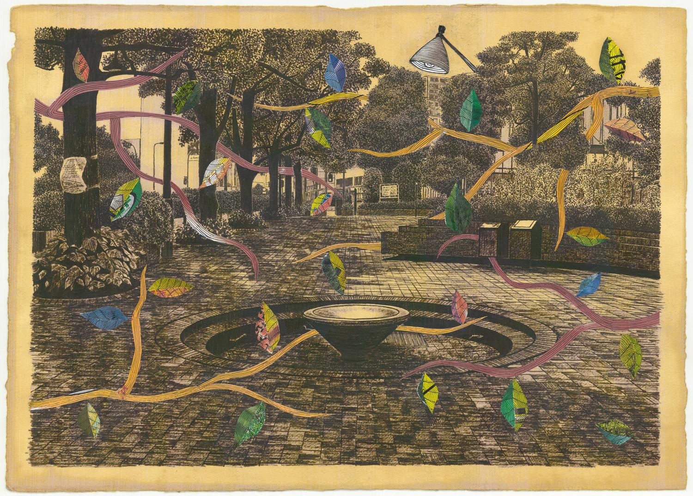 collaboration work   Hiroki Muraoka × Koji Yamaguchi  ink and collage and coffee on paper  515 × 364 mm (20 × 14 inch)  2012
