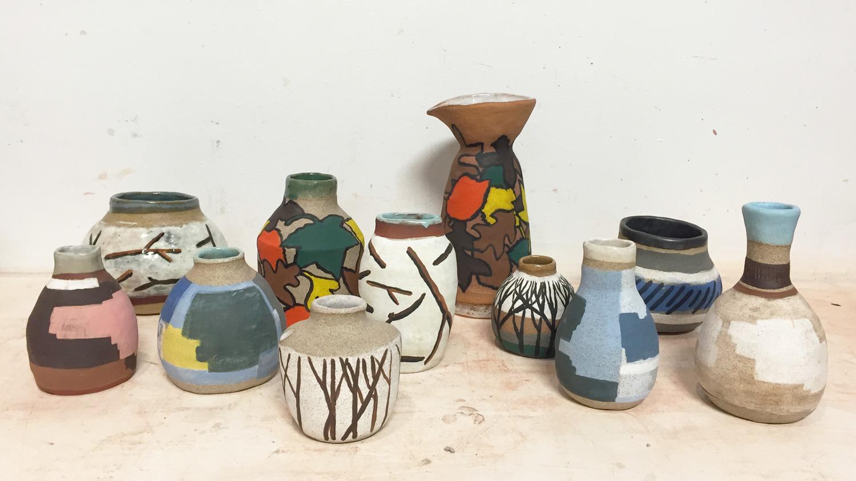 Collaborate works  Ceramic : Shino Takeda  Paint : Koji Yamaguchi  2016