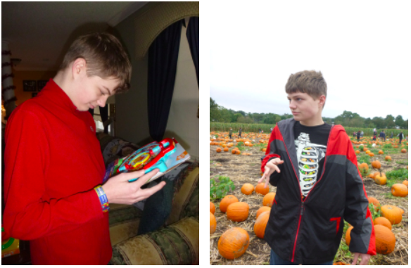 My fifteen-year-old severely autistic son Justin enjoying two of his favorite pastimes, his toys, and anything related to Halloween.