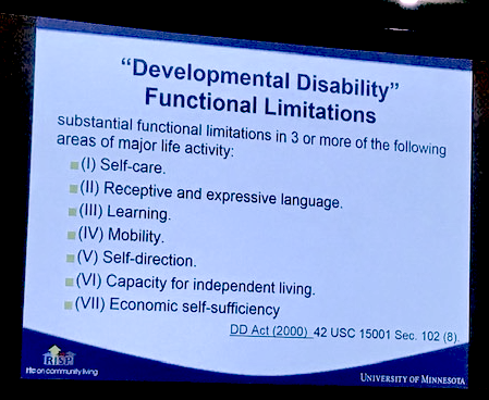 Eschenbacher explained that DD is defined by substantial functional limitations in 3 or more areas of major life activity.
