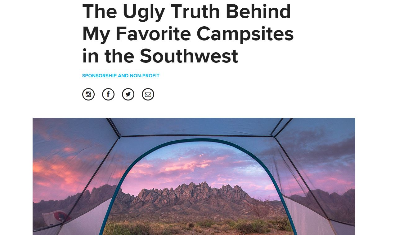 Read the article by Instagram inspiration @elisabethontheroad :  http://blog.bigagnes.com/ugly-truth-behind-favorite-campsites-southwest/