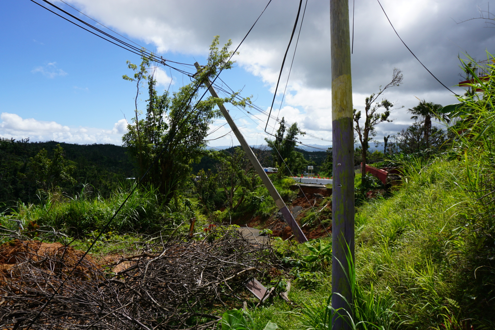 A road destroyed by a landslide