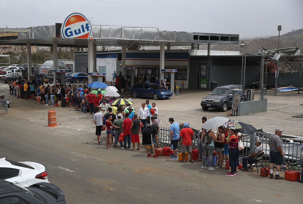 Gas lines like these were a common occurrence post-Maria