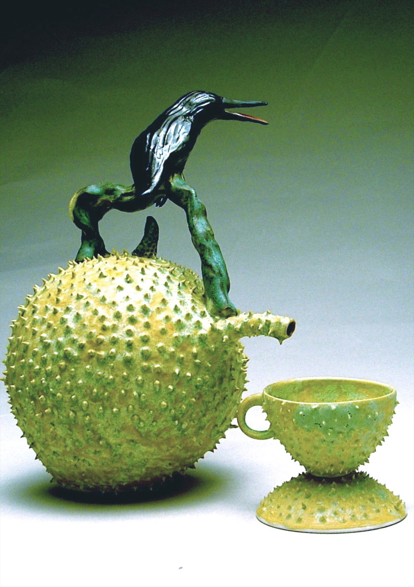 C-02 | Prickle Pod Teapot  with Crow and Prickled Cup and Saucer ($600)