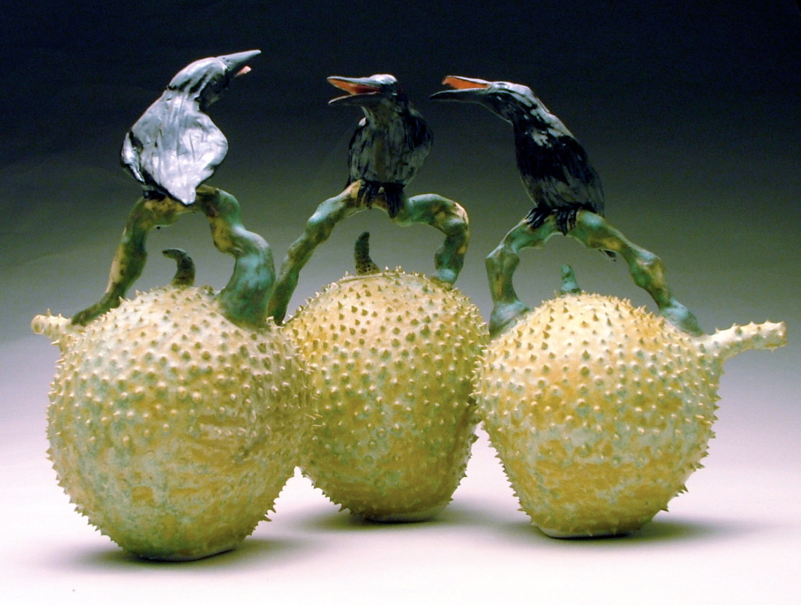 C-01 | Trio of Prickle Pod Teapots with Crows ($500 each)