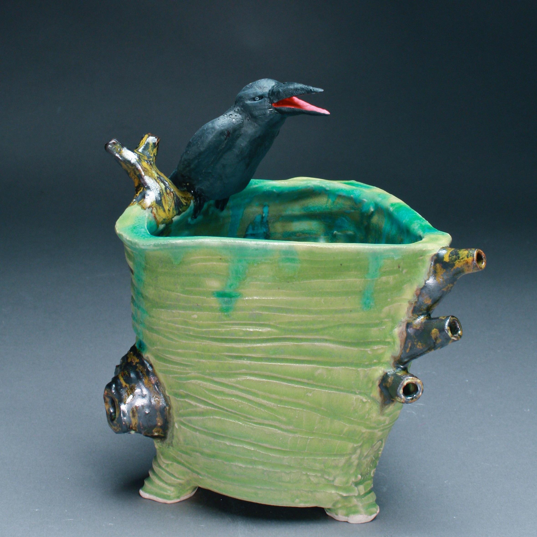 C-07 | Tree Trunk Vase with Crow ($275)