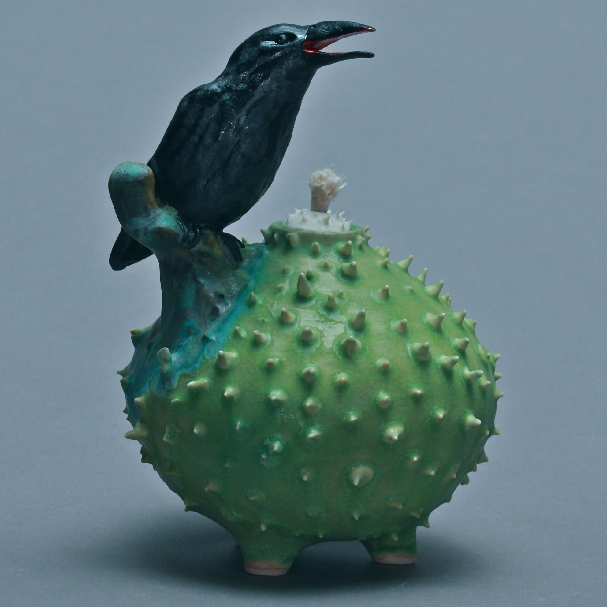 C-06 | Chartreuse Prickled Oil Lamp with Crow ($225)