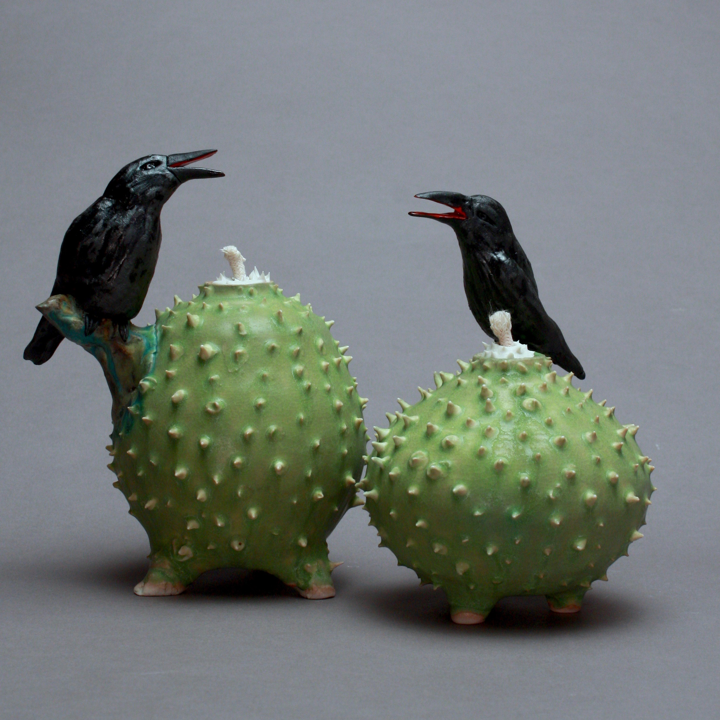 C-07 | Pair of Chartreuse Prickled Oil Lamp with Crows ($ 225 each)