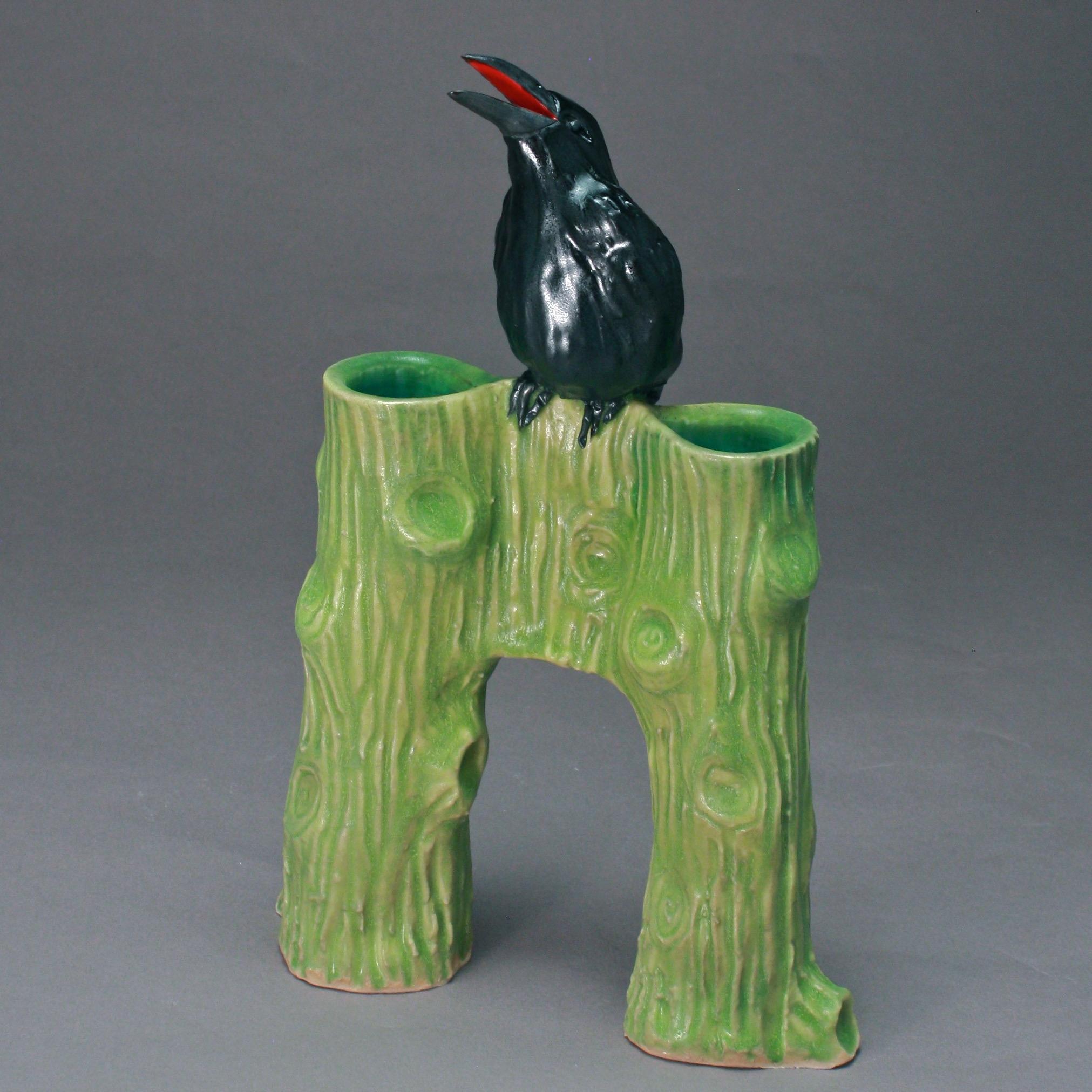 C-09 | Chartreuse Bridge Vase with Crow ($225)