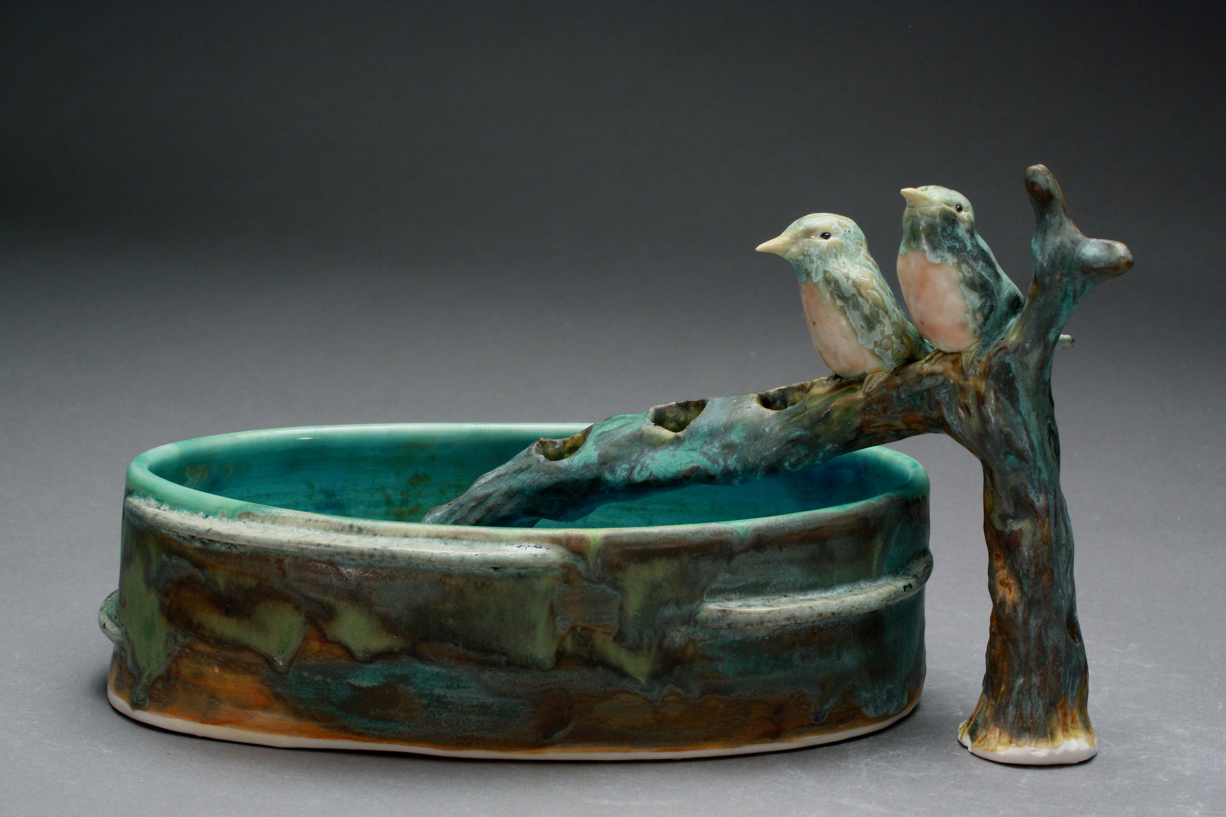 FF-03 | Branch Flower Frog and Basin with Robins ($280)