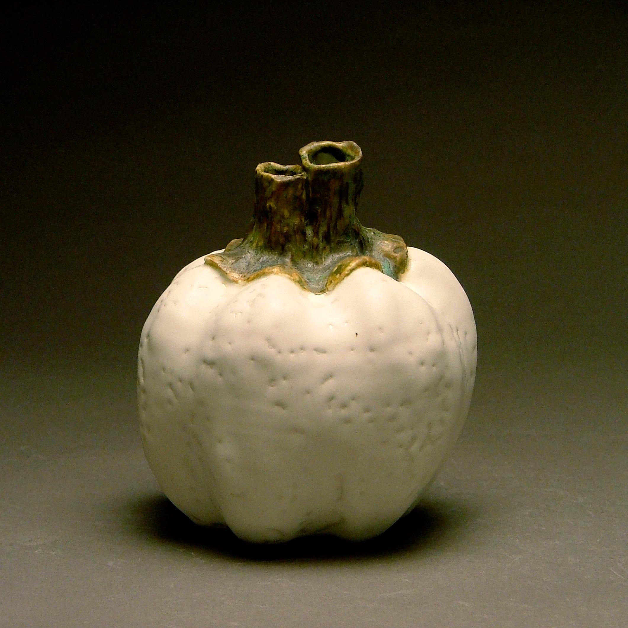 FV-01 | Rippled White Double Stem Pumpkin ($75)