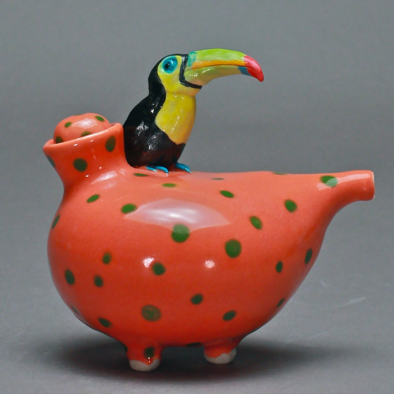 OC-04 | Spotted Mango Oil Cruet with Toucan ($160)