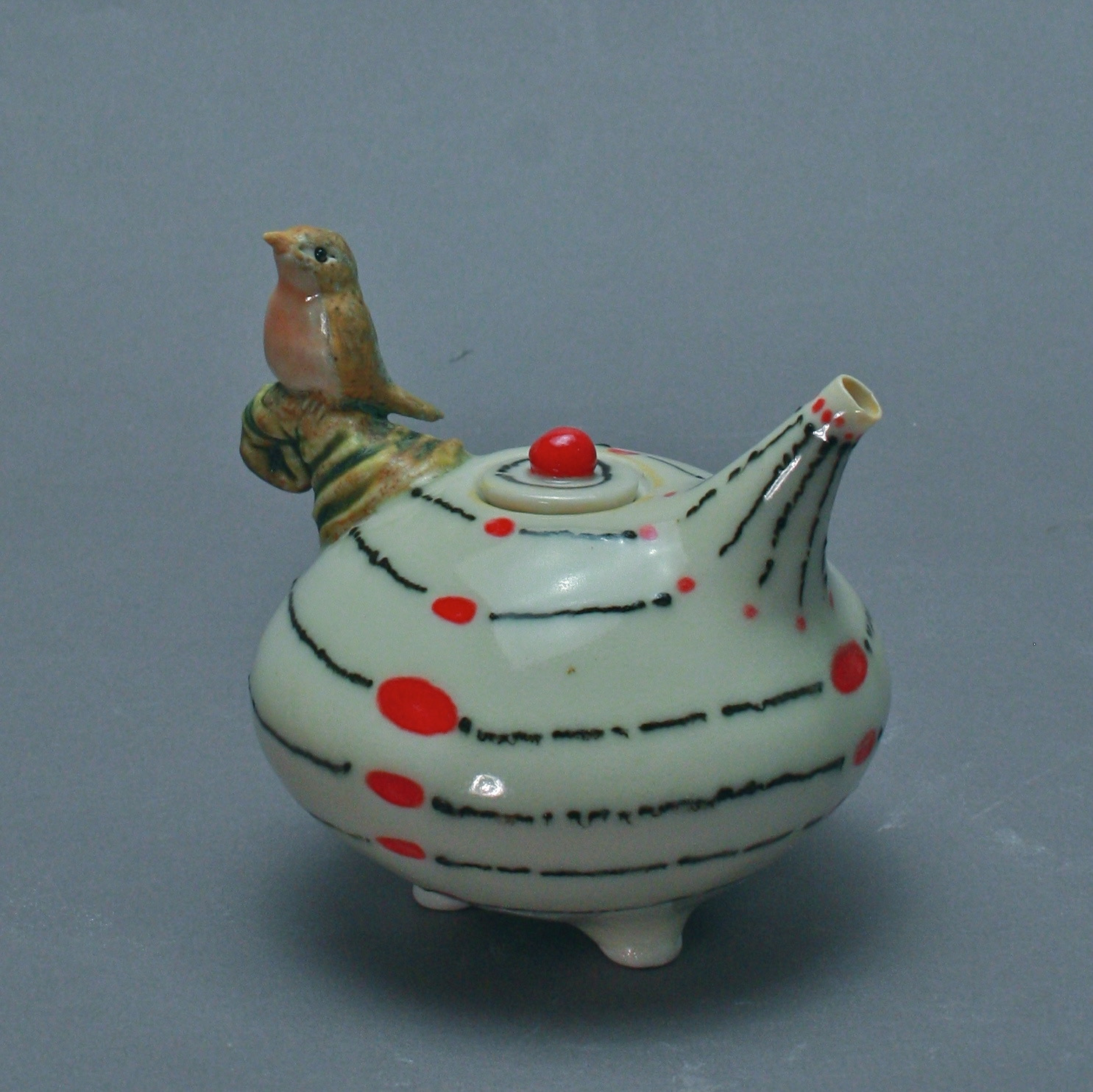 OC-10 | Red and White Oil Cruet with Robin ($160)