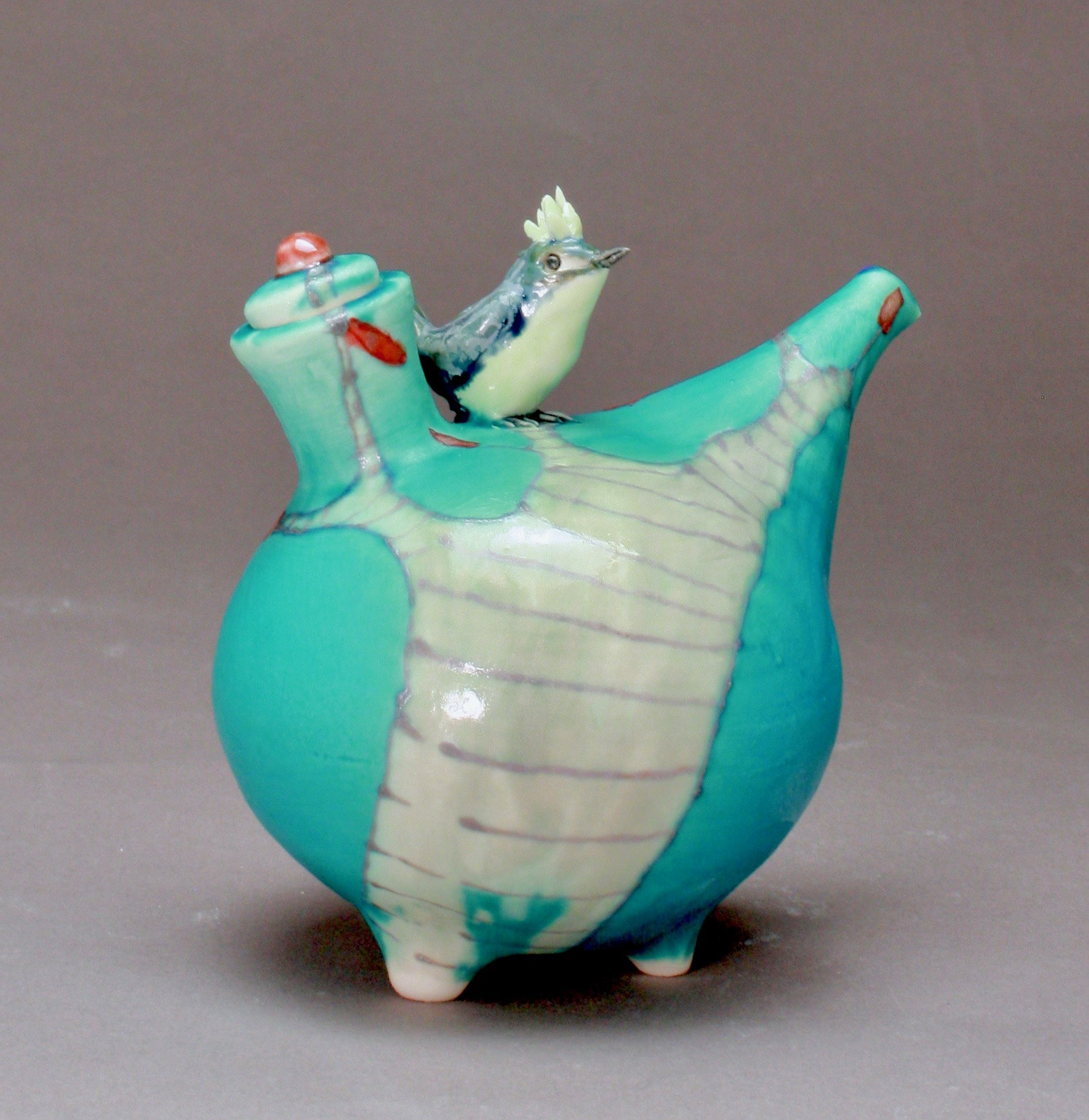 OC-26 | Turquoise Oil Cruet with Grey Tree and Bulbul ($160)
