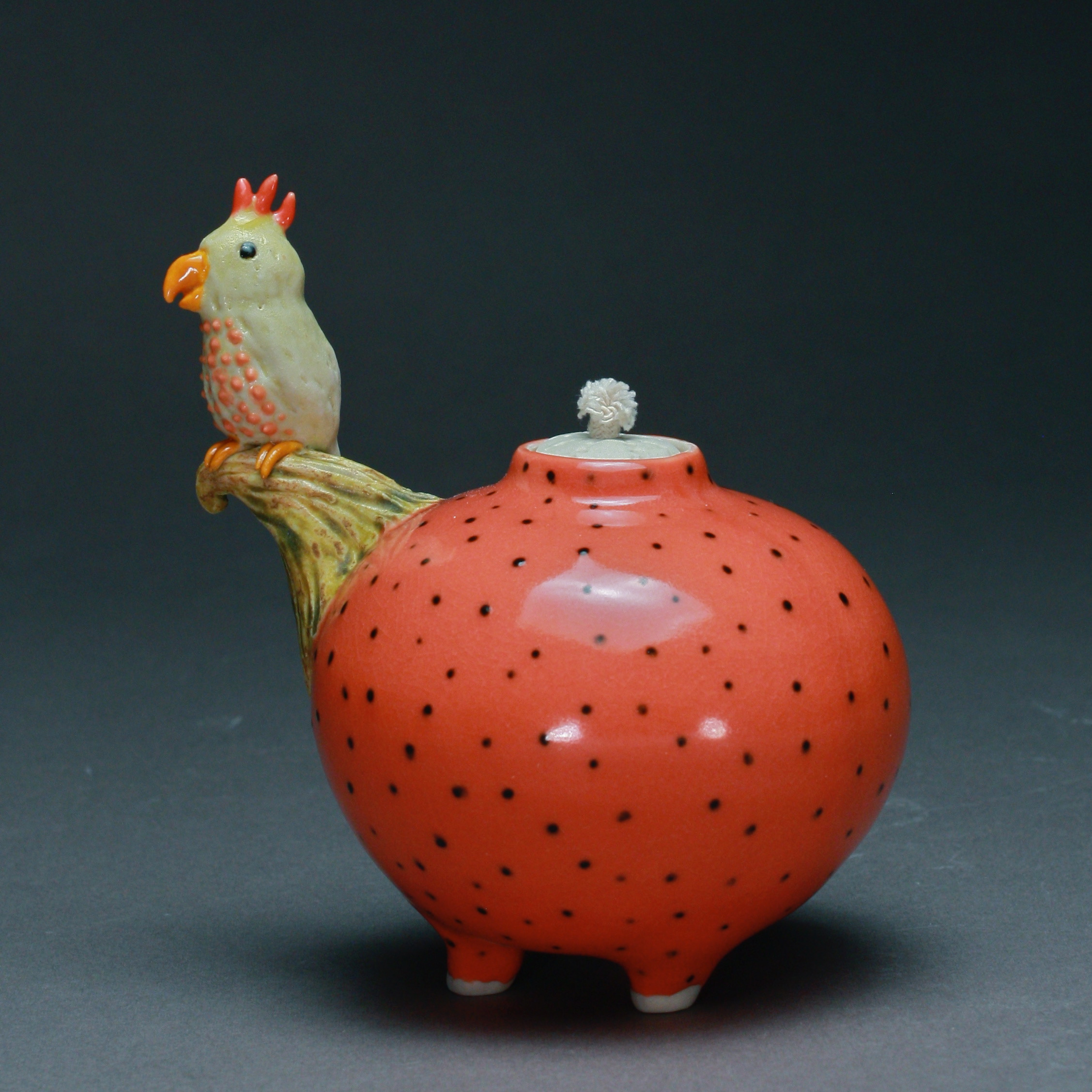 OL-04 | Dotted Mango Oil Lamp with Parrot ($150)