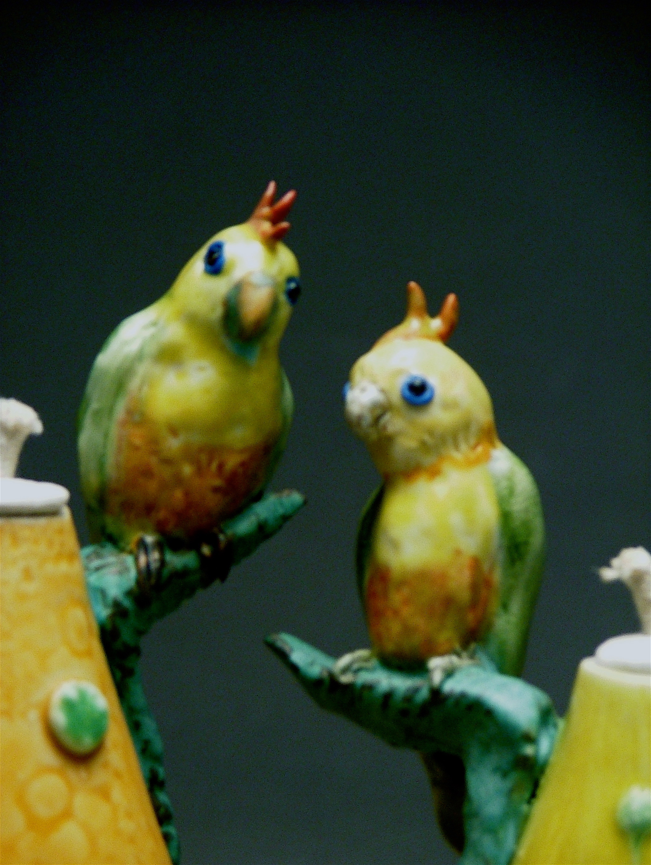 OL-02 | Detail of Yellow Oil Lamp with Parrot ($150)