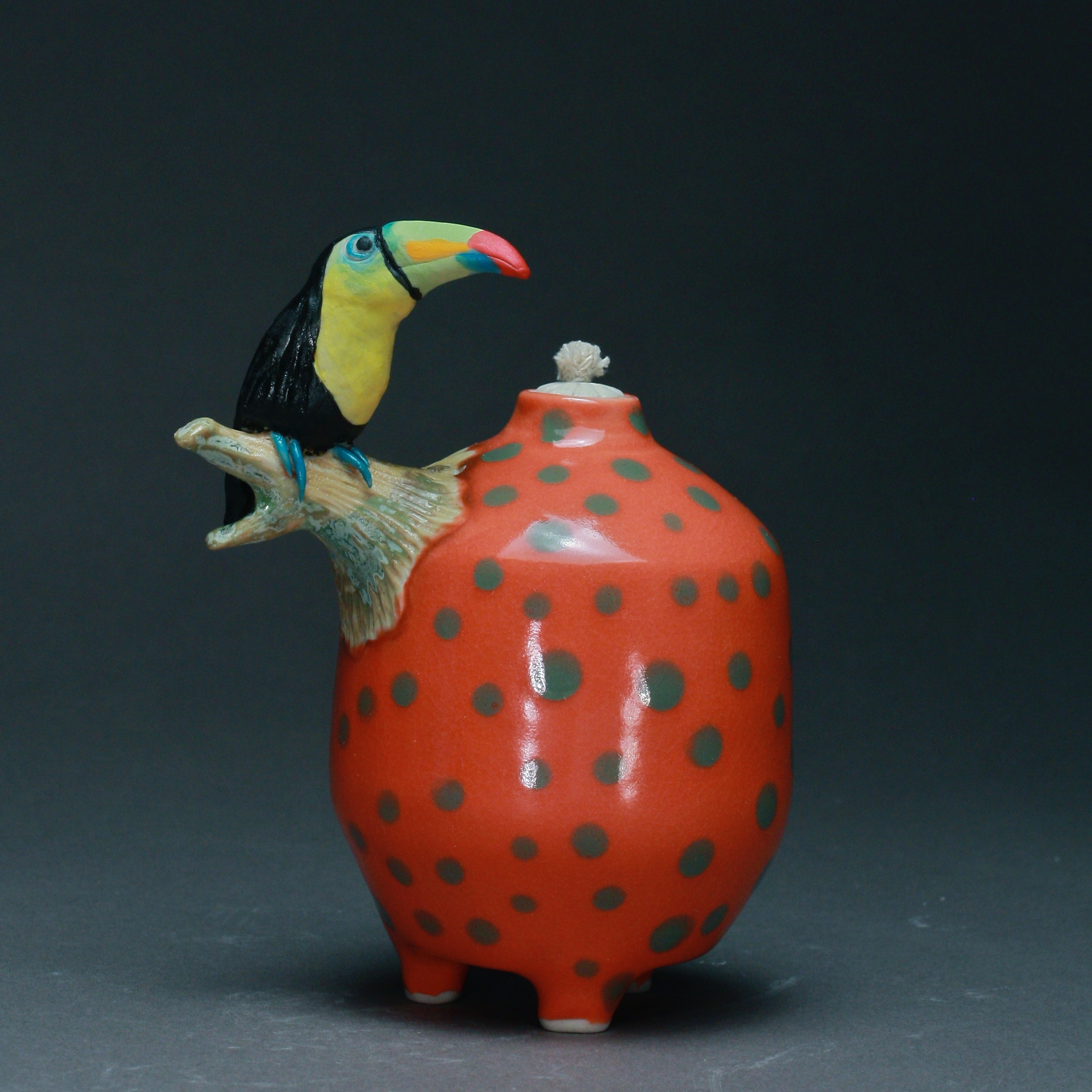 OL-06 | Green Spotted Mango Oil Lamp with Toucan ($150)
