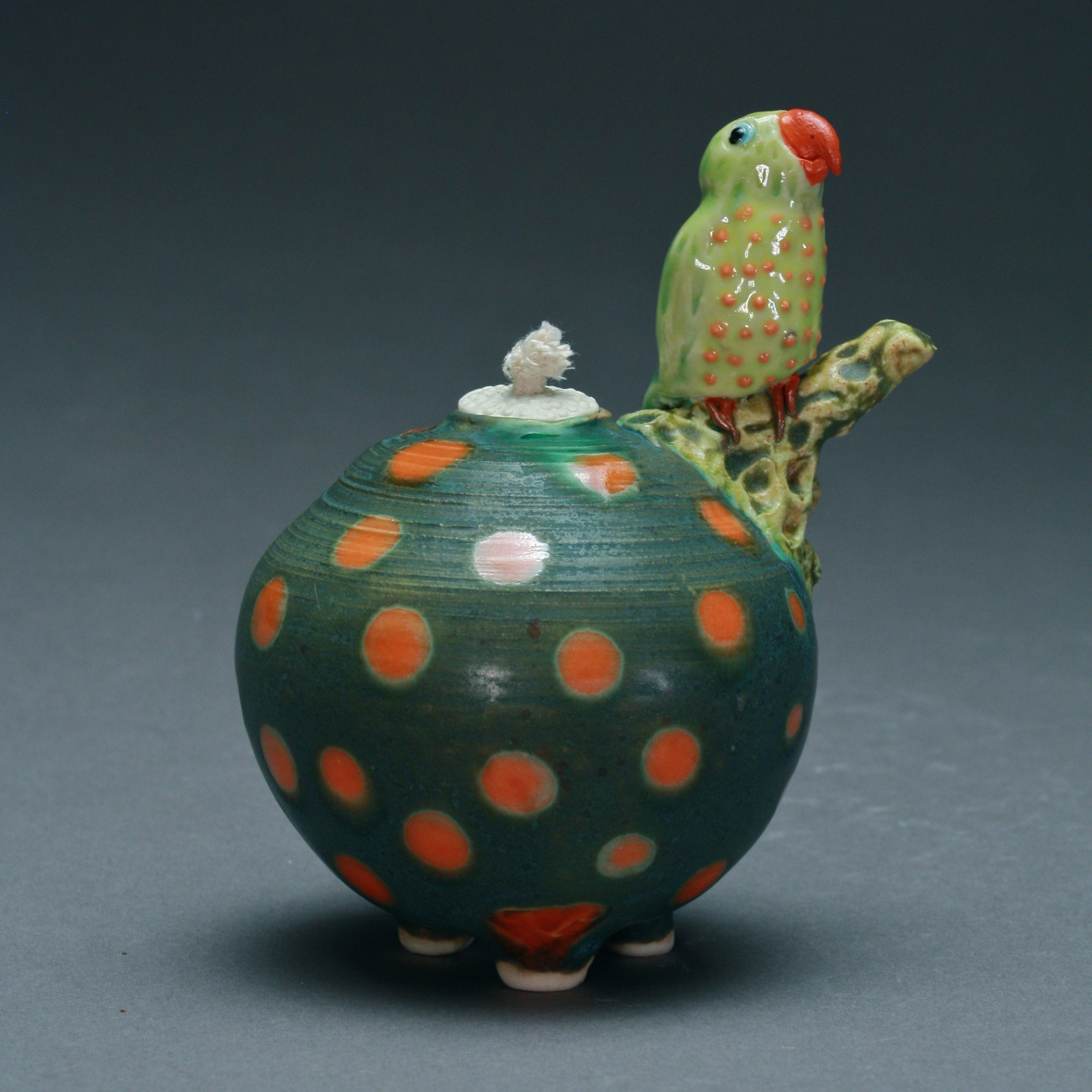 OL-08 | Orange Spotted Dark Green Oil Lamp with Parrot ($150)