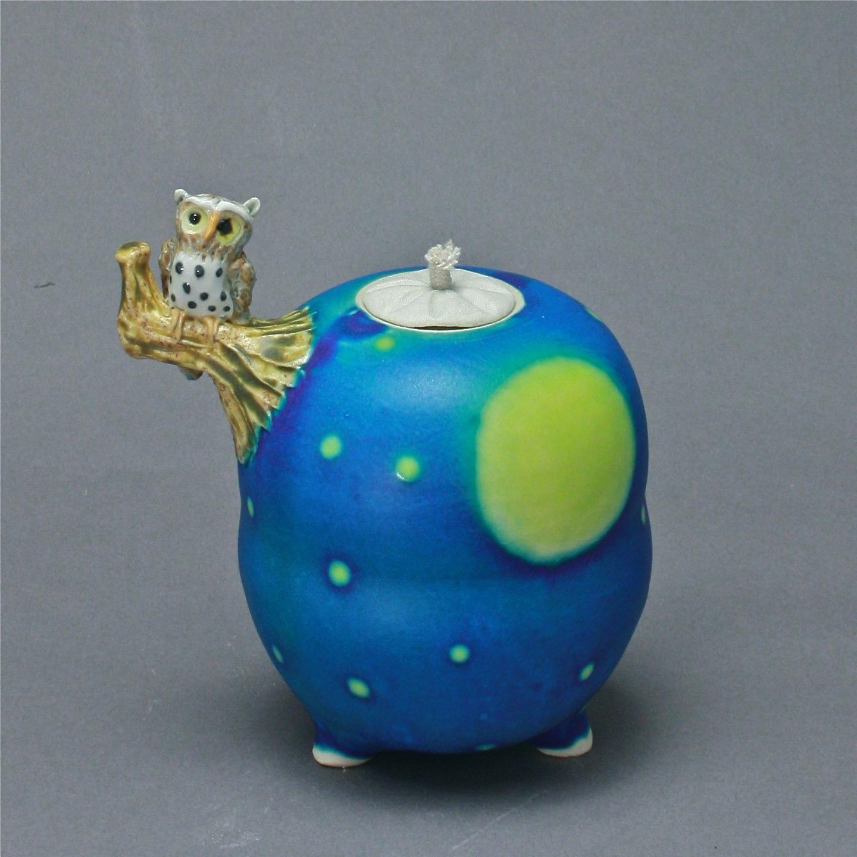 OL-05 | Full Moon Blue  Oil Lamp with Owl ($150)