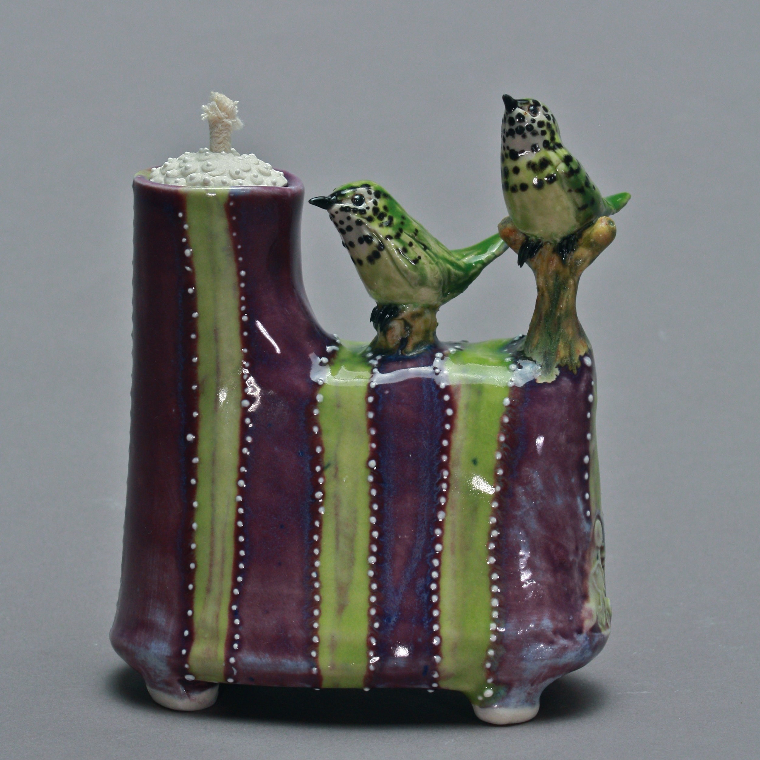 OL-22 | Green Striped Purple Oil Lamp with Manakins ($225)