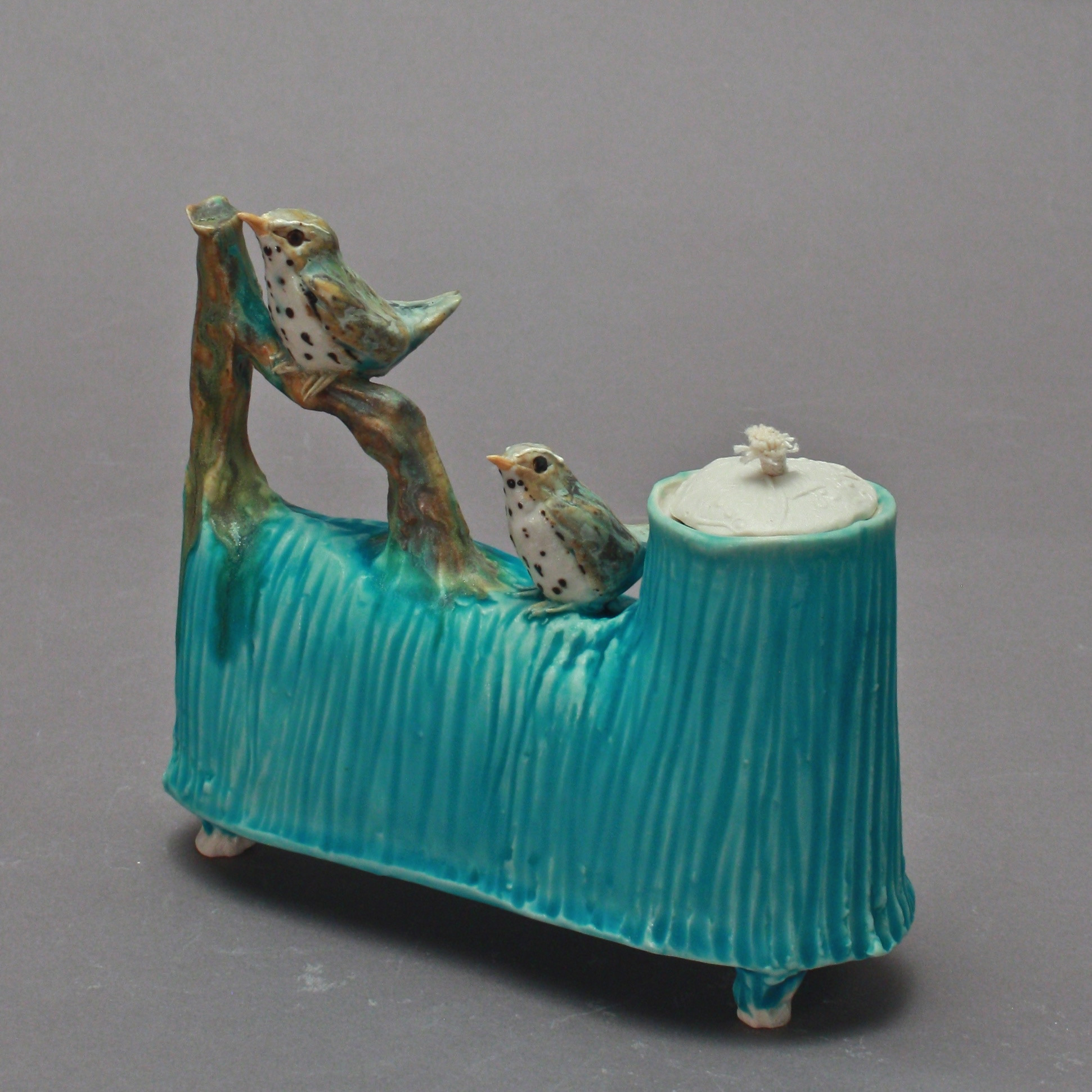 OL-22 |  Turquoise Oil Lamp with Thrushes ($225)