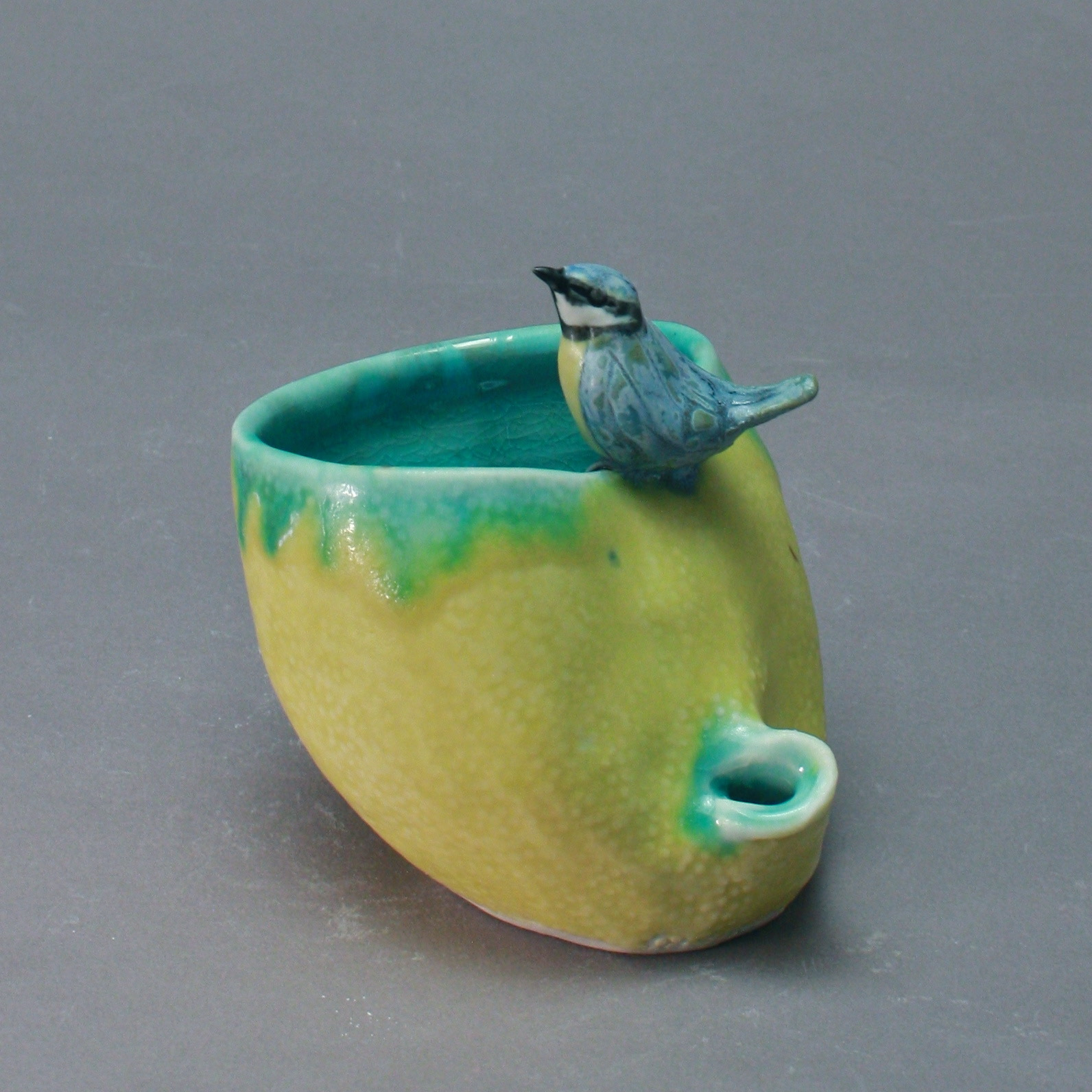 P-25 | Small  Yellow Folded Pool with Blue Titmouse ($150)
