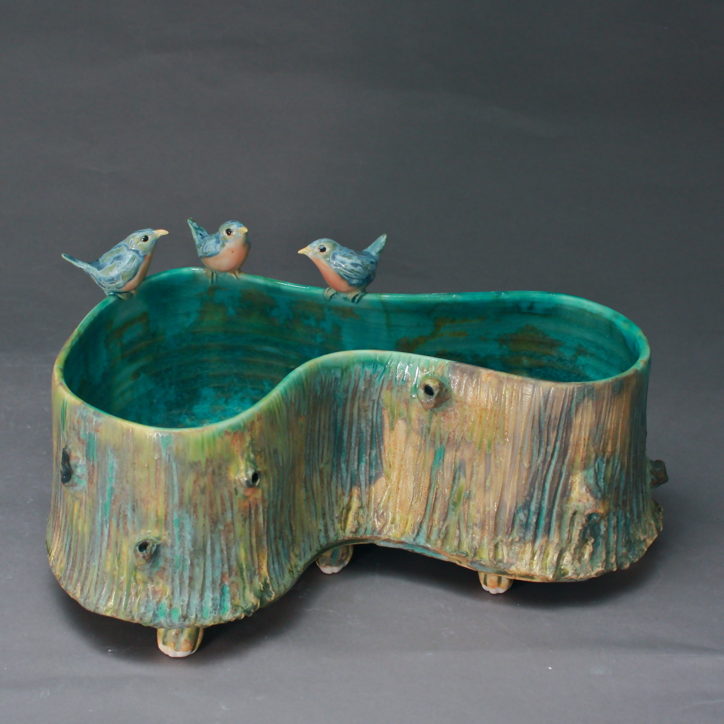 P-07 | Large Woodland Pool with 3 Bluebirds ($375)