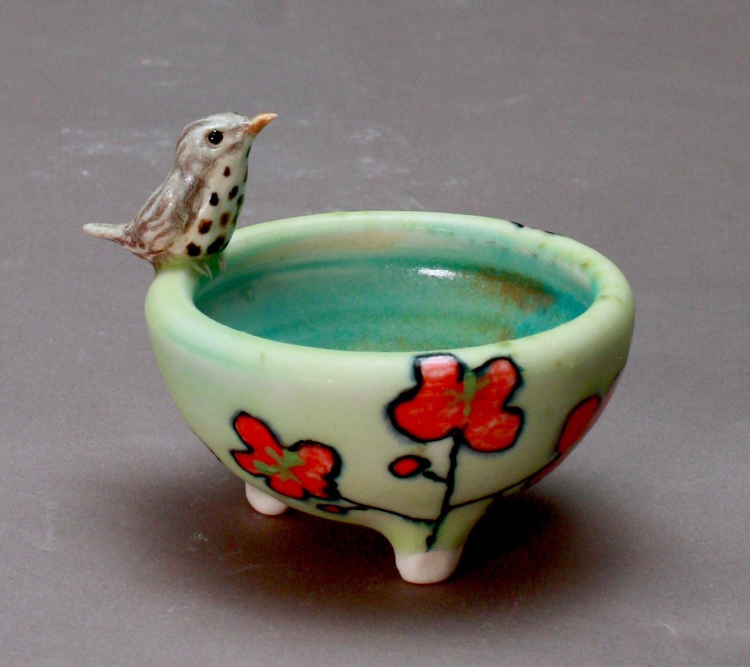 SC-09 | Red Flowered Pale Green Salt Cellar with Thrush ($95)