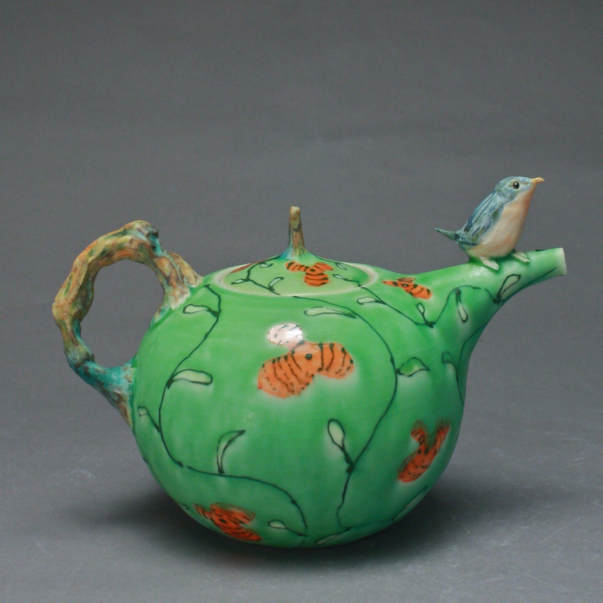 T-07  | Green Flowered Teapot with Bluebird ($295)