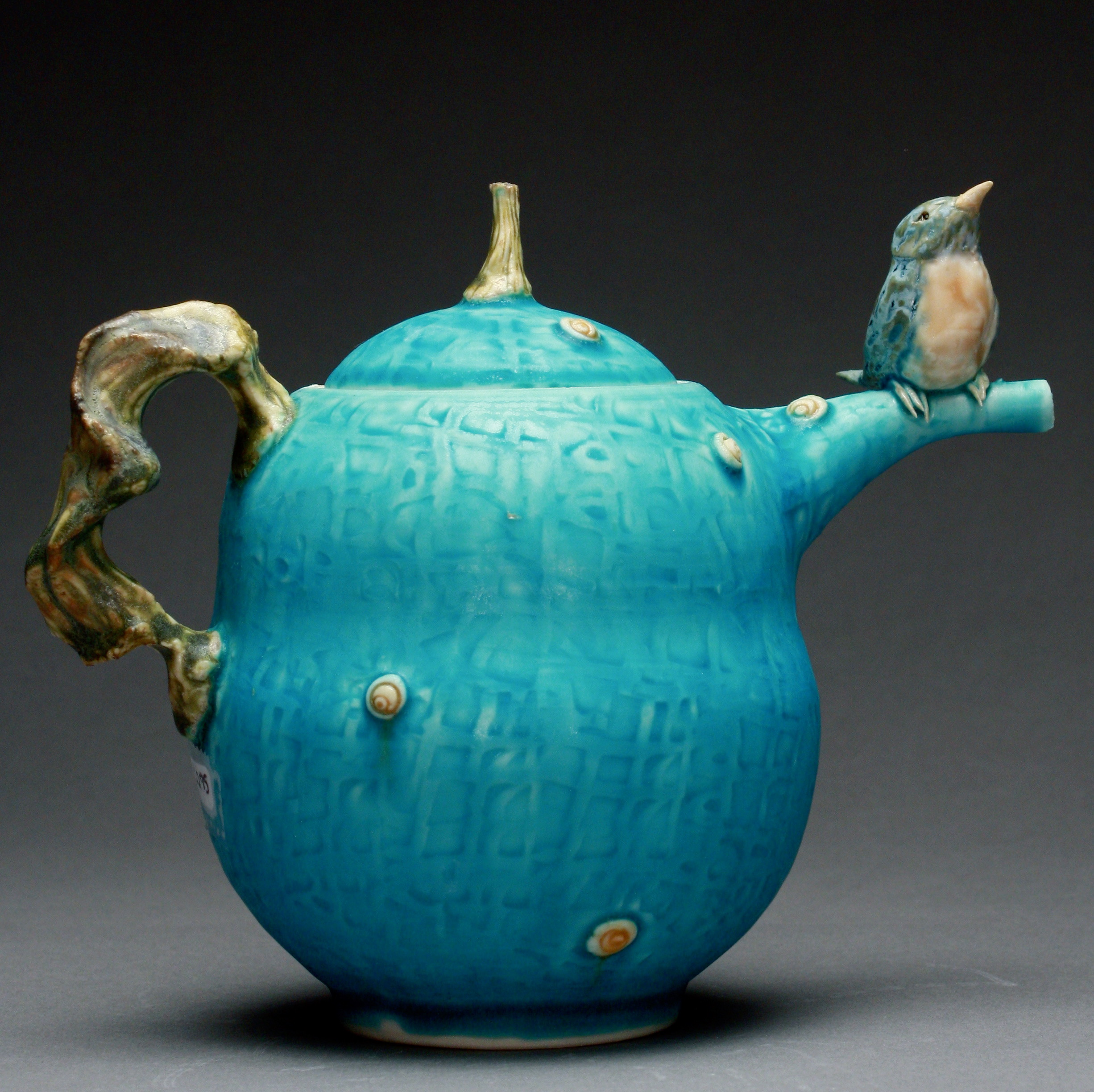 T-04  | Turquoise Teapot with Bluebird ($295)