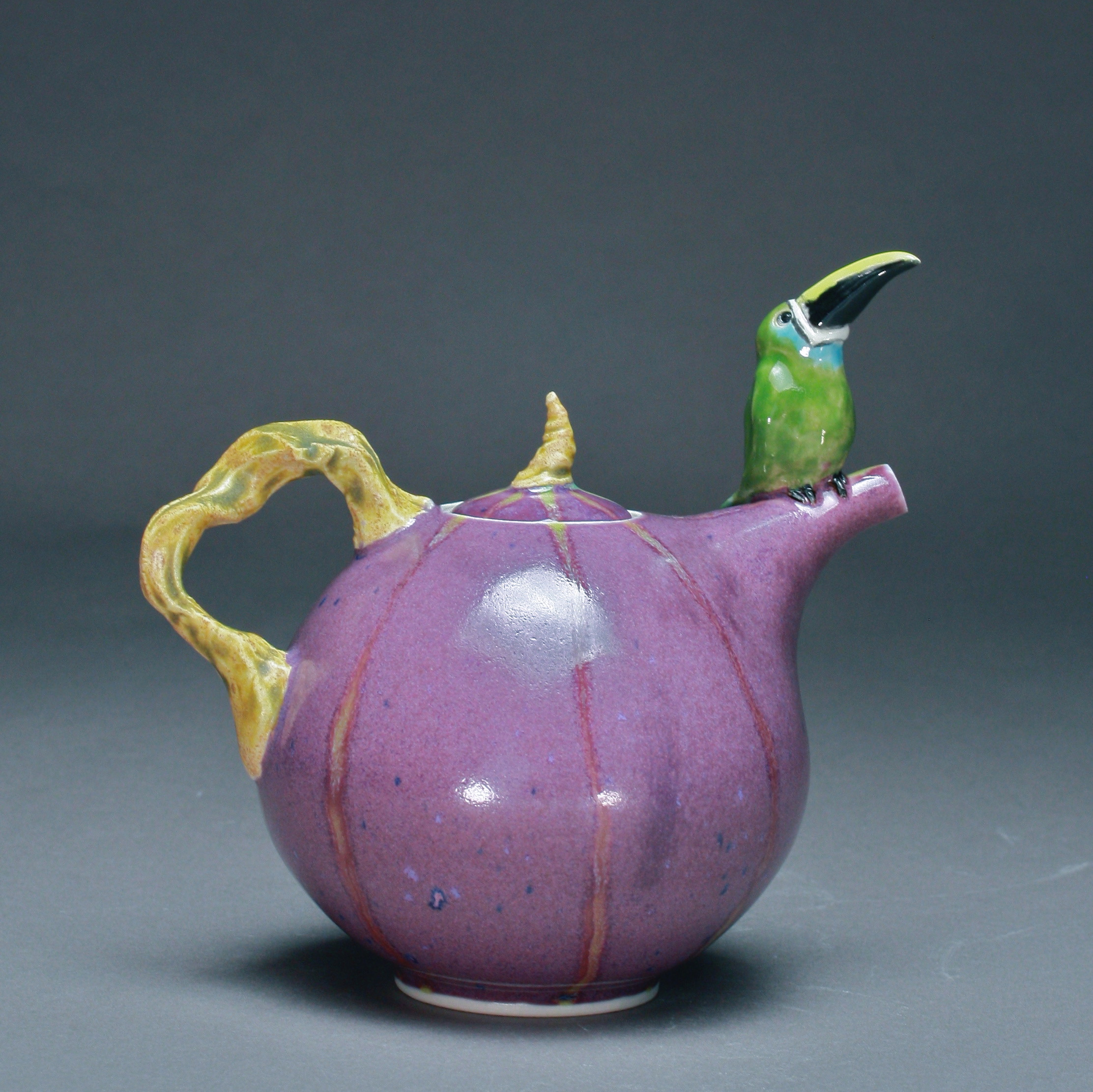 T-12  | Purple Striped Teapot with Toucan ($295)