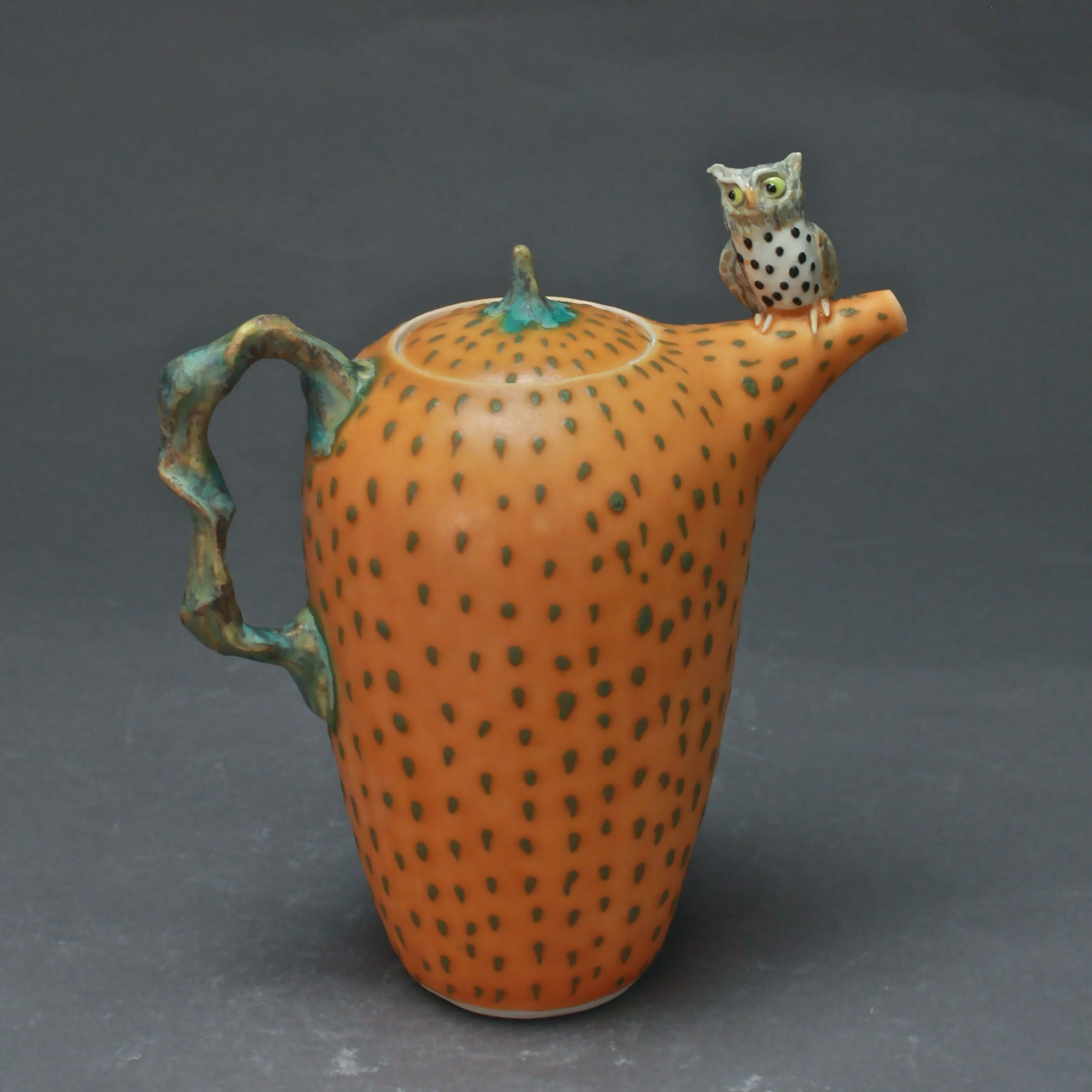 T-19  | Orange Dotted Teapot with Owl ($295)